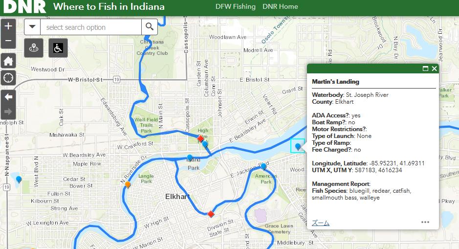 インディアナ州のフィッシングマップ